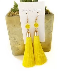 Bright Yellow Tassle Earrings